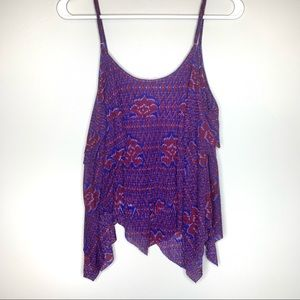 Free People | Layered Blue and Maroon Tank Top